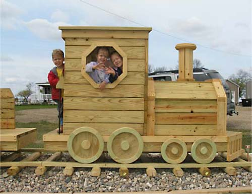 Wooden playset plans just b cause for Wooden locomotive plans