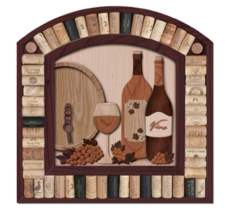 Wine Cork Wall Art scroll saw wall art - wine cork wall display pattern